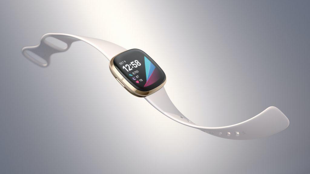 Fitbit Sense caja dorada, extensible blanco